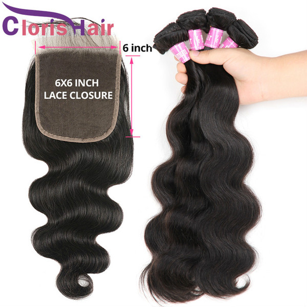 Brazilian Virgin Hair 3 Bundles With 6x6 Lace Closure Unprocessed Body Wave Human Hair Weaves Closure Cheap Wavy Hair Extensions And Closure