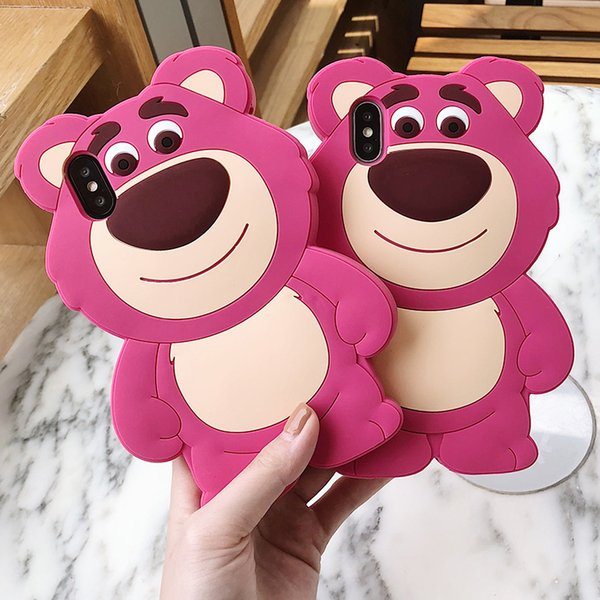 3D Cute Cartoon Bear Phone Case For iPhone 6 7 8 Soft Rubber Silicone Funny Shockproof Durable Protective Case Cover For iPhone XS Max XR