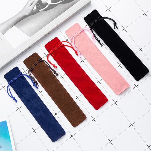 best selling Creative Design Plush Velvet Pen Pouch Holder Single Pencil Bag Pen Case With Rope Office School Writing Supplies Student Christmas Gift