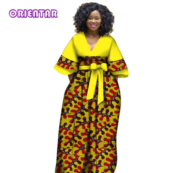 2018 New african dresses for women bazin riche style femme african clothes graceful lady print wax plus size party dress WY2841
