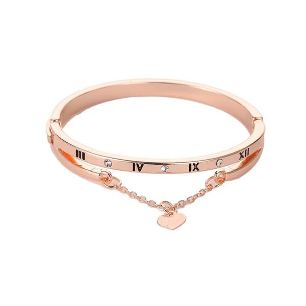 Hot luxo rosa liga de ouro pulseiras pulseiras coração feminino para sempre amor marca charme pulseira para as mulheres famosas jóias