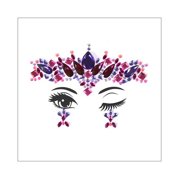3D Beauty Flower Spider Web Waterdrop Sticker Design Face Gems Crystal Jewelry Temporary Tattoo Bohemia Wedding Stage Body Makeup Rhinestone