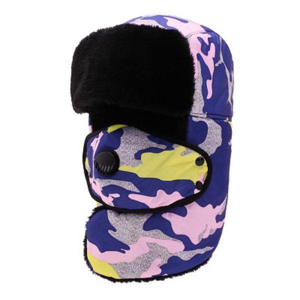 Winter Camouflage Hat For Men Women Thermal Windproof Bomber Hat With Face Mask Earflaps 2018 New Arrival Thicker Aviator