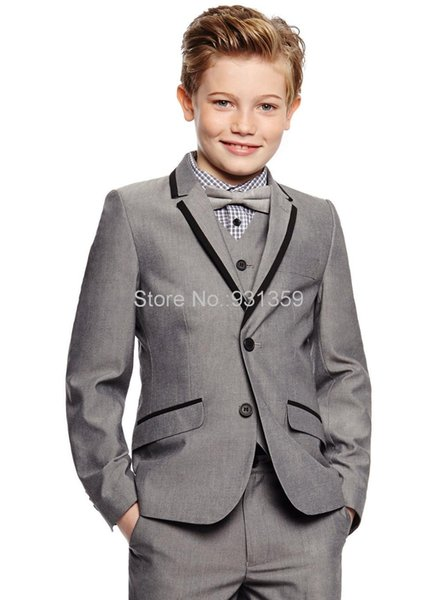 Popular Grey Boys Formal OccasionTuxedos Notch Lapel Two Button Kids Wedding Tuxedos Child Suit Holiday clothes(Jacket+Pants+Tie+Vest) 43