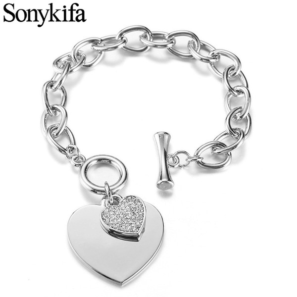 Romantique CZ Cristal Coeur Bracelets Or Couleur Serrure Clé Charmes Bracelets pour Les Femmes Amour Manchette Pandoro Bracelet Bijoux Cadeau