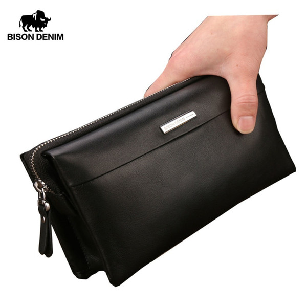 Bison Denim Men Wallet Luxury Long Clutch Handy Bag Moneder Male Leather Purse Men's Clutch Bags Zipper Mens Long Wallet N8009 Y19052104
