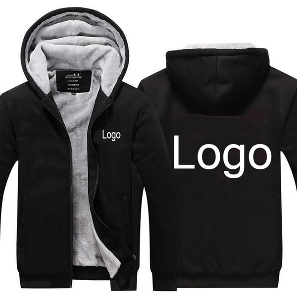 Logotipo personalizado Moda Engrossar Moletons Com Capuz Casaco de Inverno Cardigan Impressão Hoodies Jaqueta Casaco Hoodies Dos Homens N