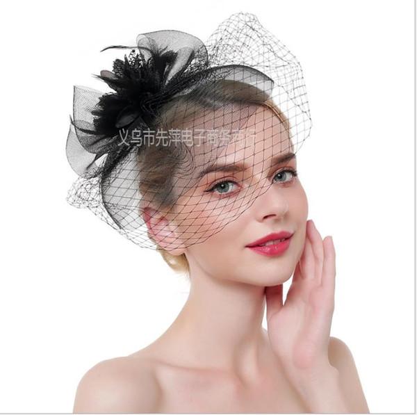 Flower Feather Top Hat Bride Headdress Top Hat Hair Ornament