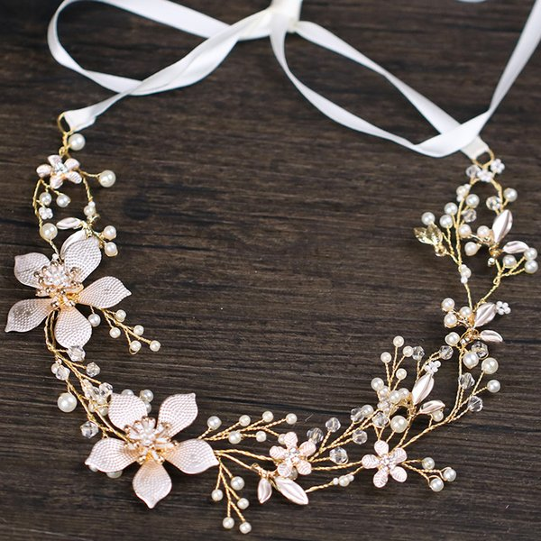 Bride Flower Headbands Wedding Hair Accessories Hair Vine Bridal Headpiece Crystal Hairband Golden Leaf Tiaras Headbands