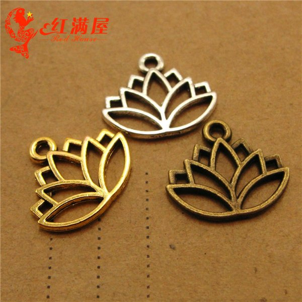 200pcs 16*14MM Handmade vintage antique bronze yoga sign lotus flower charms DIY Jewelry Material Tibetan Silver Alloy for Retro Accessories
