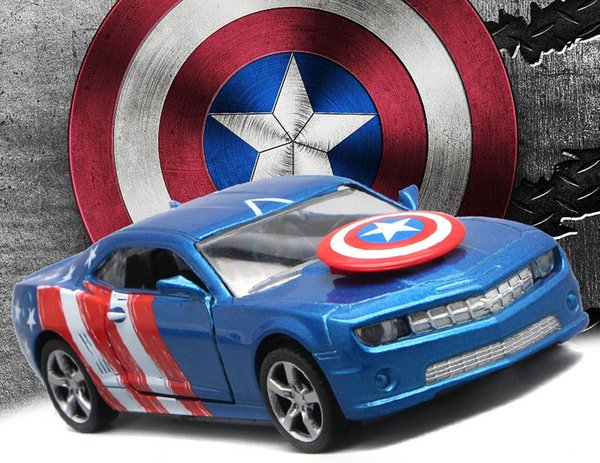 [Funny]1:36 Sound & Light Captain America 3 Captain America's chariot Alloy sports car with open door figure model toy kids gift