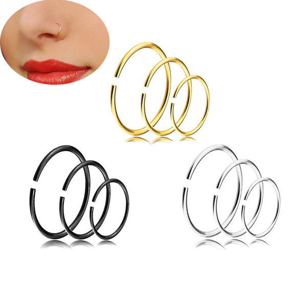 Women Men Nose Rings Gold Plated C Shape Nose Ring Studs Body Piercing Jewelry 9pcs lot
