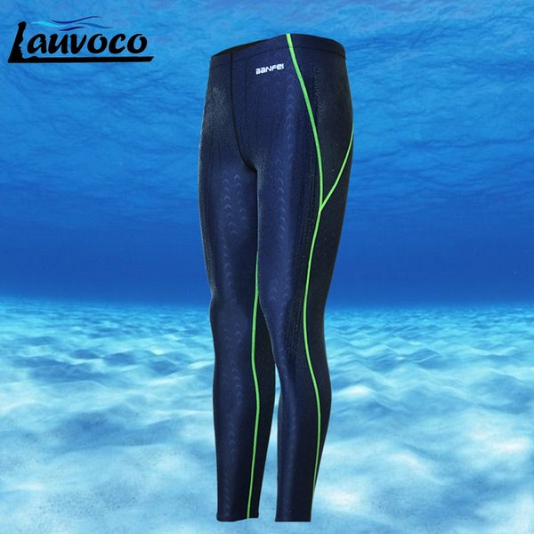 Professional Swimming Shorts Plus Size 3xl Long Pants Men Quick Dry Sharkskin Swimtrunk Jammers Swimwear Diving Wetsuit Swimsuit Y19072601