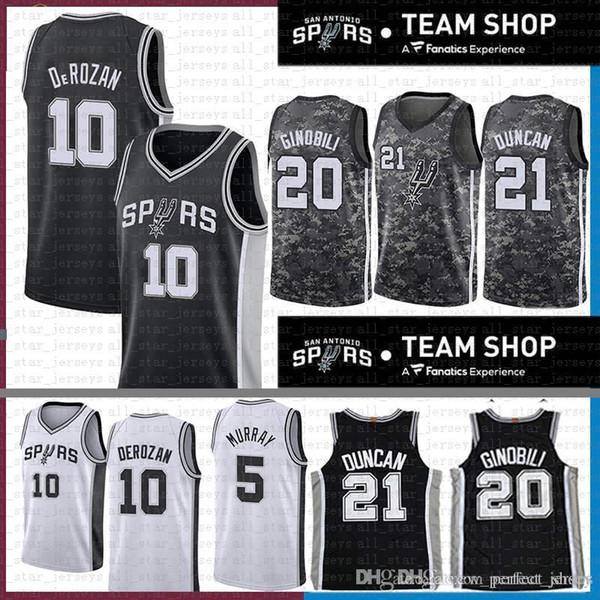 a209a8874f2 2019 NEW San Demar 10 DeRozan Antonio Jersey Spurs Manu 20 Ginobili Tim 21  Duncan Dejounte 5 Murray Basketball Jerseys camouflage