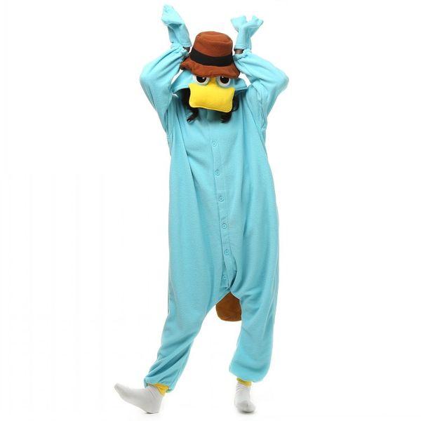 Unisex Perry the Platypus Costumes Onesies Monster Cosplay Pajamas Adult Pyjamas Animal Sleepwear Jumpsuit
