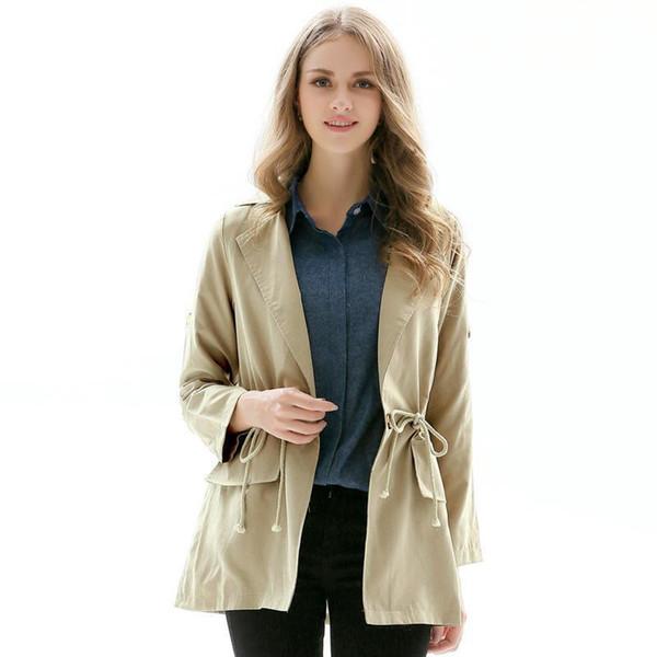Womens Fashion Style Coats Solid Color Turndown Collar Single Button Long Windbreaker Coat Casual Female Khaki Jacket Overcoat