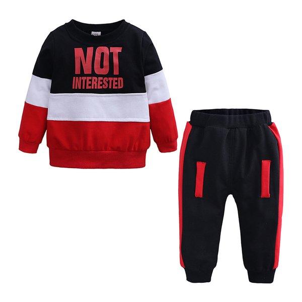 Vendita al dettaglio Baby Kids Cartoon Fashion Casual Patchwork Abiti in due pezzi Set di abbigliamento Infant Boys Outfit Sportwear Tute Abiti firmati