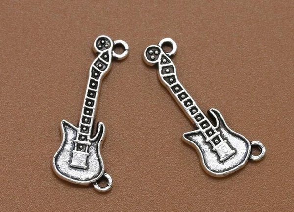 Guitar Charm Antique Music Pendants For Handmade DIY Bracelet Necklace Fashion Jewelry Alloy Making Gifts Accessories 100PCS