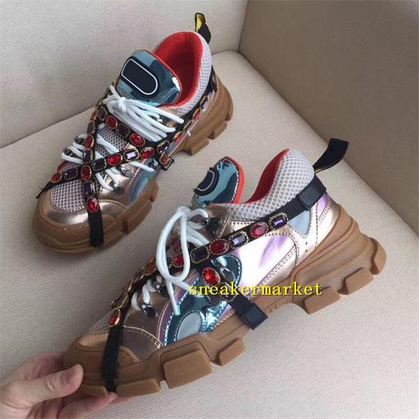 Yeni Tasarımcı Ayakkabı Çıkarılabilir Kristal Erkekler Rahat Ayakkabılar Kadın Sneaker Moda Karışık Renkler Rhinestone Zincir Lace Up Düşük Kesim Sneaker Ayakkabı