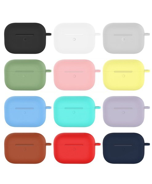 For Airpods Pro Liquid Silicone Case Waterproof Colorful Soft Earphone Cover with Metal Buckle With Retail Packing