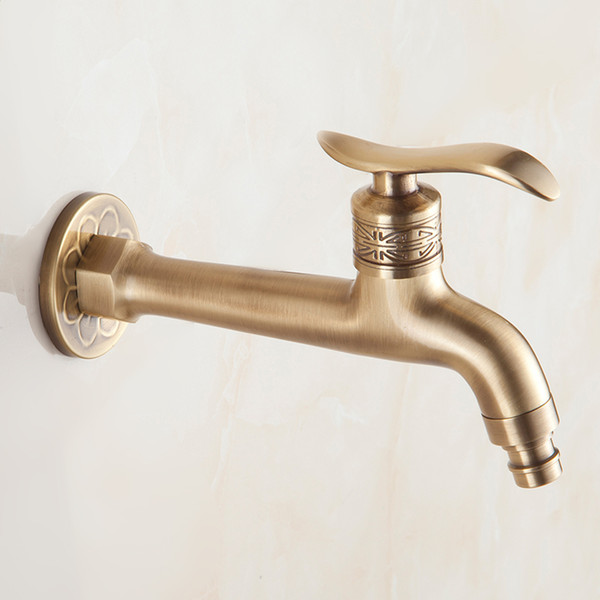 Long Bibcock Faucet Antique Brass Bathroom Mop Sink Faucets Outdoor Garden Crane Wall Mount Washing Machine Water Taps