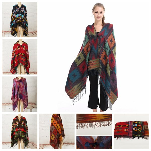 best selling 6styles Women Hooded Cloak Autumn Winter Geometric Printing Shawl National Style Cape With Horn Buckle Coat Sweater Blankets FFA2916