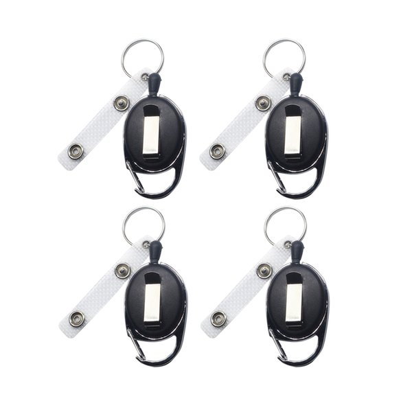 4pcs Badge Reel Key Chains Muliti-Functional Key Chain Recoil Carabiner Retractable Badge For Sports Climbing Outdoor