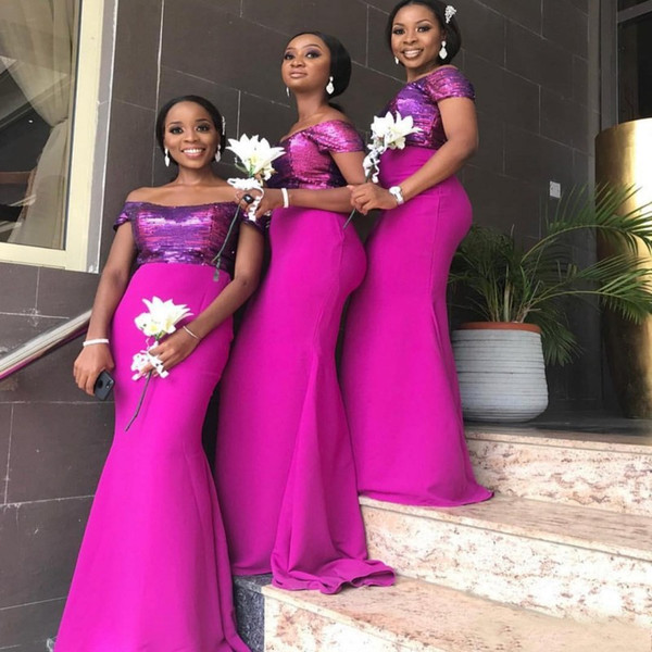 Fuchsia Black Girl Mermaid Bridesmaid Dresses Long Off The Shoulder Wedding Guest Dress Sequined Top Capped Plus Size Maid Of Honor Gowns