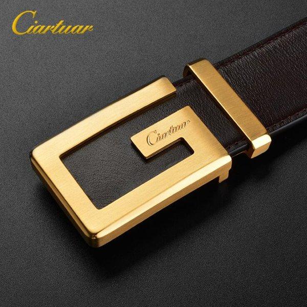 cinturones de marca de moda de lujo de calidad superior de la correa de diseñador para hombre hebilla de cinturón de cobre cinturón de castidad masculina puro cuero con la caja de regalo el envío libre