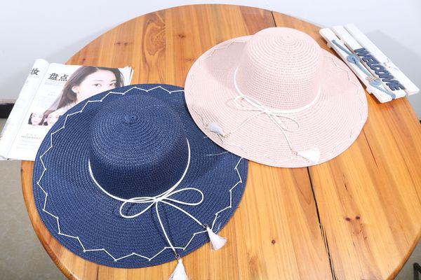 Summer New Women's Big Eaves Hat South Korean Version Of Sunshade Beach Hat Bow Sunscreen Hat For Women