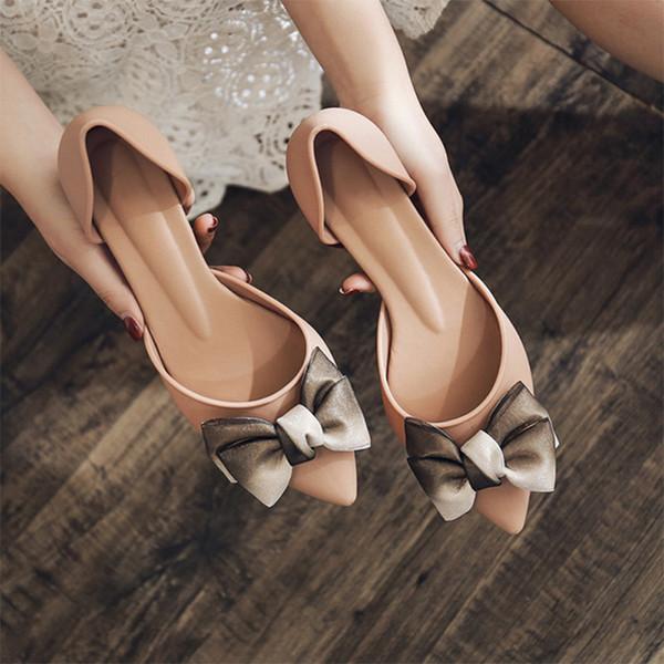 Sonbahar Kadın Ayakkabı Papyon İki Adet Açık Sivri Burun Sığ Jelly Ayakkabılar Orta Topuk Rahat Kadın Bayanlar pompaları Kayma