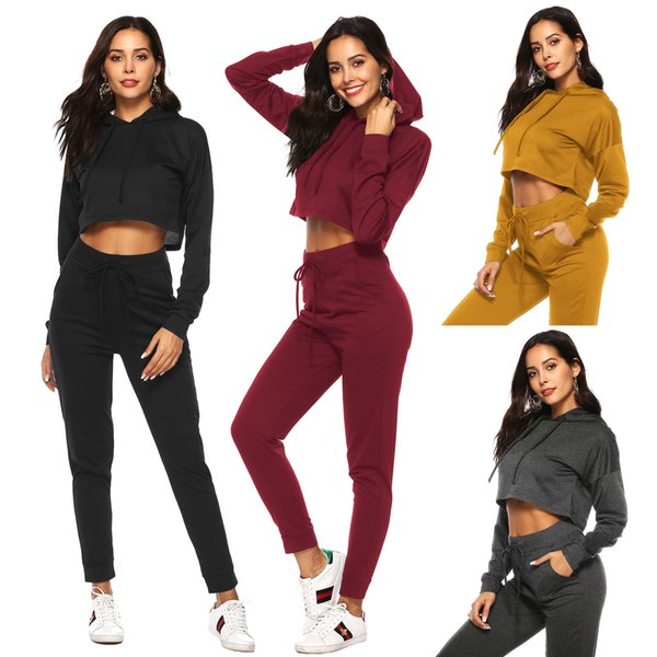 Women Jumpsuits Rompers 2019 New Spring Autumn Solid Tracksuits Casual Crop Top Hoodie Slim Sweatpants Set 4 Colors