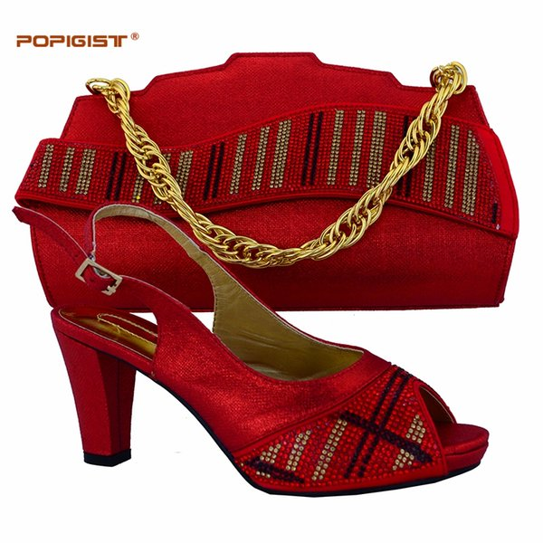 67e5334792396 Rhinestone Strips Red Color Wedding Party Italian Shoes With Matching Bags  Size Us 7.5-10.5