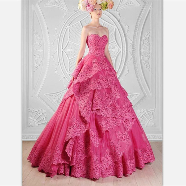 Fuchsia Lace A Line Wedding Dresses 2019 Sexy Sweetheart Floor Length Tiers Ruffles Bridal Gowns Custom Zuhair Murad Country Wedding Gowns