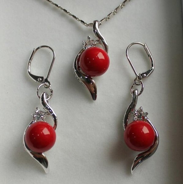 jewelryhot sell new - new perfect match jewelry set 10mm red shell pearl pendant & earring