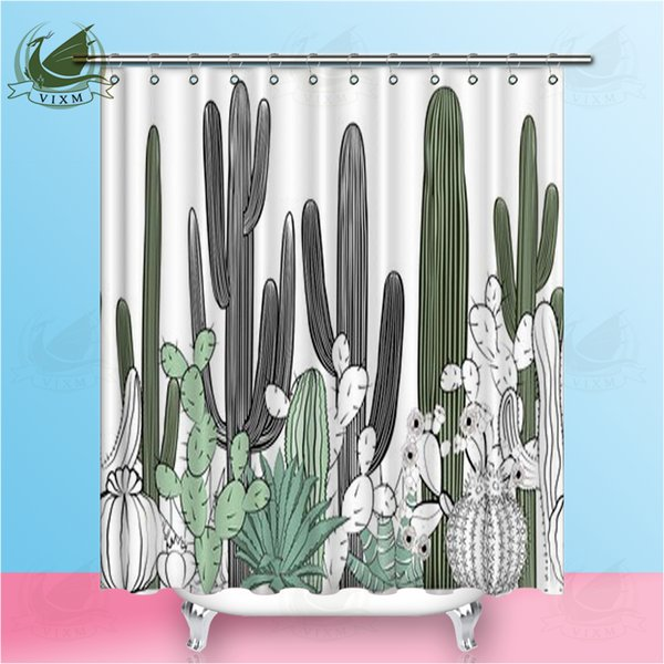 Vixm Tropical Succulent Desert Plant Green Cactus Shower Curtains Watercolor Style Waterproof Polyester Fabric Curtains For Home Decor