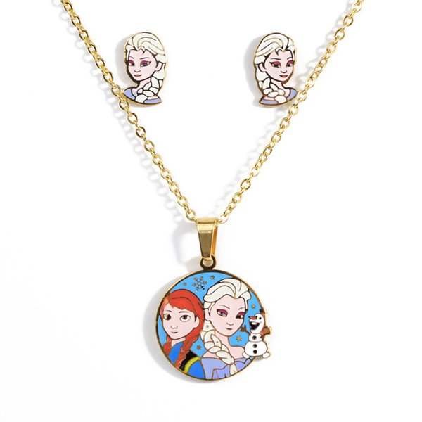 Ice romance pendant necklace earrings set suitable for ladies and children titanium steel Cartoon necklace jewelry