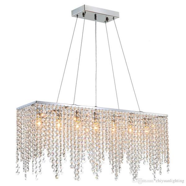 "Modern Linear Rectangular Crysal Chandelier Lighting Island Chandelier Lighting Fixture for Dining Room Living Room L32"""