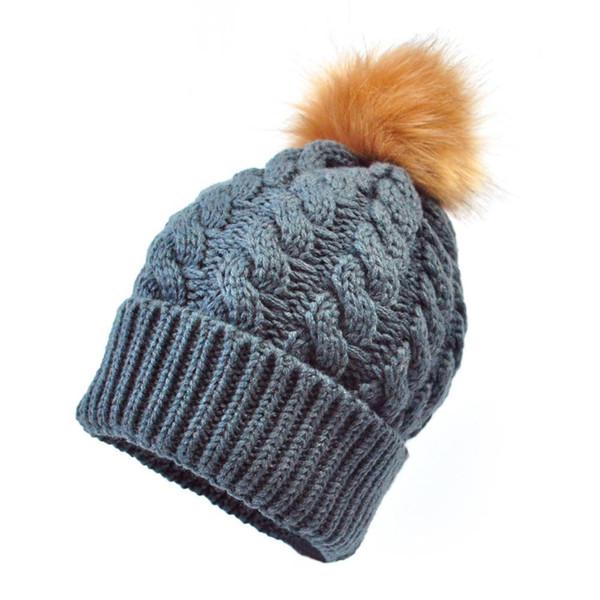 Baby Winter warme Strickmütze Pom Hut Säugling Kleinkind Kind häkeln Hairball Beanie Cap (dunkelgrau)