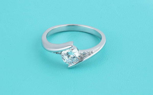 High Qulity Radiant Elegance 925 Sterling Silver White gold Plated Swiss Diamond Rings For women fashion jewelry Finger Ring