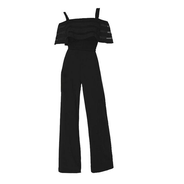 Fashion summer Women's High Waist off Shoulders Suspenders Romper Solid Color lace Playsuit Casual Loose Wide Leg Jumpsuit