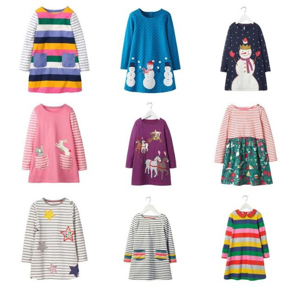 Girl Long Sleeve Unicorn Dress Summer Kids Clothing Animals Appliqued Kids Princess Dress for Baby Clothing Patterns Printed Party Dress 765