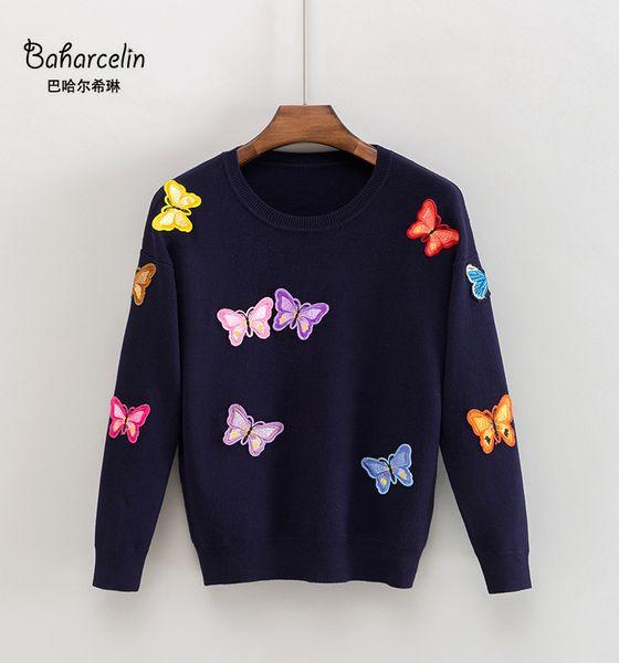 Baharcelin 3XL девушка женщин зима вышивка свитер вязаных пуловеры Casual Свободного свитер печатных бабочка свитер большой TopsMX190927