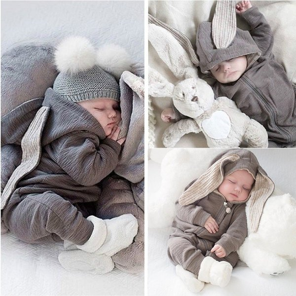 2019 Baby's jumpsuit big ears rabbit hoodie zip crawl suit jumpsuit Rompers 0-18 months