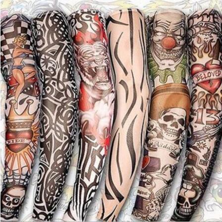 24 Teile / satz Tattoo Ärmel Nylon Elastische Gefälschte Temporäre Tätowierung Ärmel Designs Körper Arm Strümpfe Tätowierung für Coole Männer Frauen