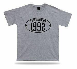 Impresso T shirt tee O melhor de 1992 feliz aniversário presente presente idéia unisex