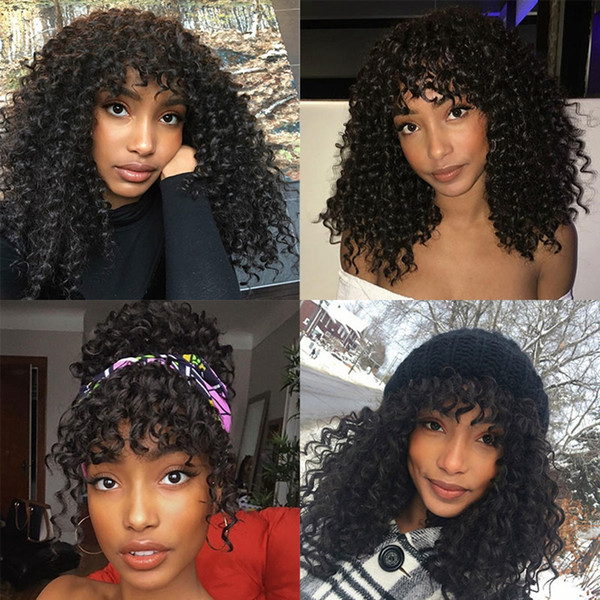 Deep Curly 360 Lace Frontal Human Hair Wigs with Bangs High Density Curly Full Lace Brazilian Virgin Hair Natural Color Wigs