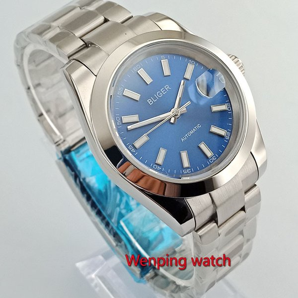 40mm bliger sterile dial no logo blue dial solid case date window sapphire glass automatic mens watch W2761