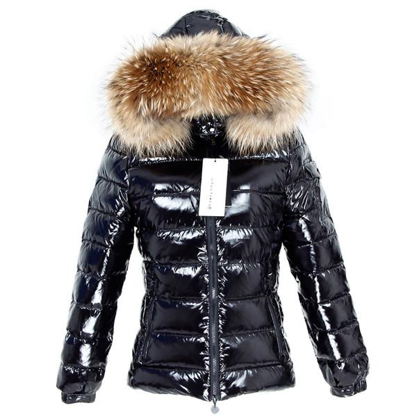 Kış Ceket Kadınlar Gerçek Kürk Parkas Ördek Aşağı Astar Coat Real Rakun Kürk Yaka Sıcak Siyah Streetwear SH190926