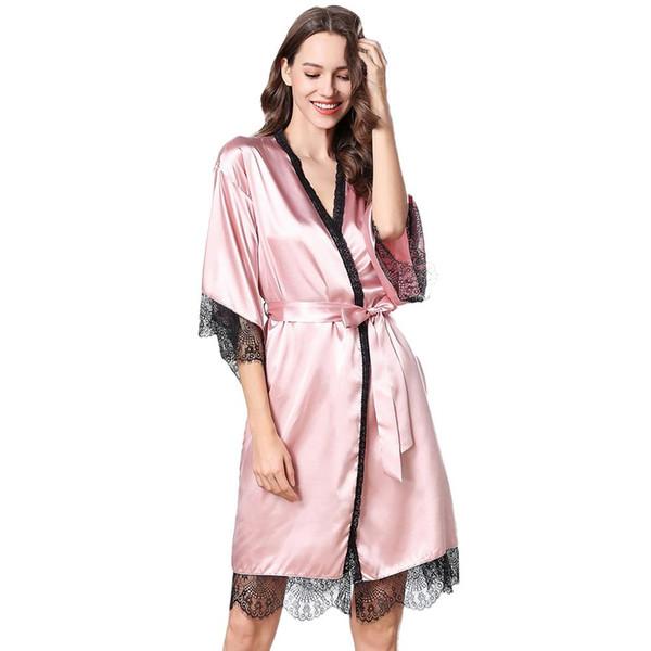 Sexy Eyelash Lace Lace Robe Ladies Albornoces Simulación Falda de seda Dos piezas Sexy Robe Ropa de manga larga para el hogar Blanco Rosa